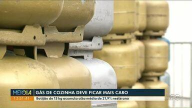 Gás de cozinha tem novo reajuste - Botijão de 13 kg acumula alta média de 21,9% neste ano.