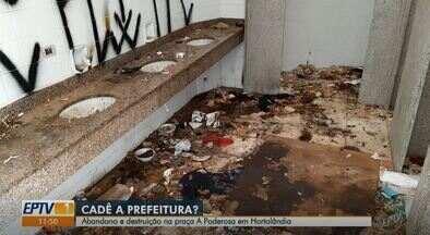 Praça Poderosa, em Hortolândia, está em situação de abandono e destruição - Local fica situado na região do bairro Rosolém. Equipe da EPTV esteve no local e encontrou lixo pelo chão, lixeiras depredadas e banheiros sujos e destruídos.