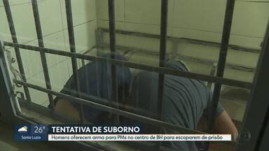 Homens detidos em abordagem oferecem arma como suborno a policiais militares, em BH - Eles foram presos e a arma apreendida pela polícia.