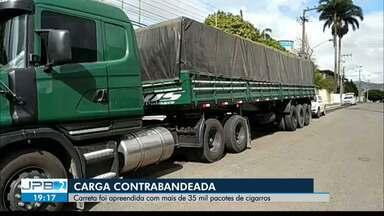 Carreta com mais de 35 mil pacotes de cigarros contrabandeados é apreendida na PB - Carga sem nota fiscal está avaliada em mais de R$ 1 milhão.