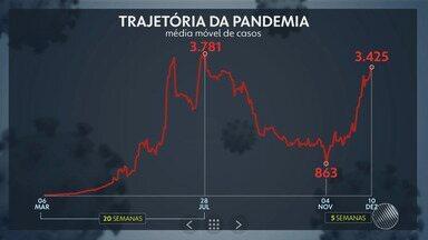 Gráfico mostra tragetória de evolução da pandemia de Covid-19 na Bahia - Confira.
