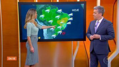 Meteorologia prevê mais calor e pancadas de chuva para esta quarta (16) em boa parte do país - Uma baixa pressão entre Paraná e São Paulo vai acelerar a formação de nuvens de chuva no Paraná, São Paulo e em Mato Grosso do Sul. Pode chover forte também no Amazonas, Roraima, Pará e Amapá. Tempo deve ficar firme no norte do Rio de Janeiro, Espírito Santo, Minas, Goiás, sul do Tocantins e interior nordestino.