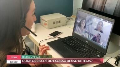 Fadiga virtual: excesso deu uso de telas pode interferir na saúde - Com o home office, o uso de dispositivos eletrônicos aumentou. O 'Bem Estar' conta quais são os riscos do excesso do uso de telas para a saúde