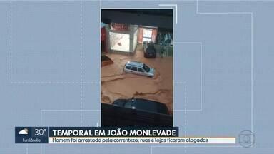 Temporal atinge João Monlevade e provoca estragos na cidade - Um homem foi arrastado pela correnteza e ruas e lojas ficaram alagadas.