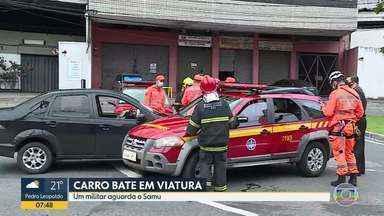 Motorista bate em viatura do Corpo de Bombeiros no Buritis, região Oeste de Belo Horizonte - Há suspeita de que o motorista estava embriagado.