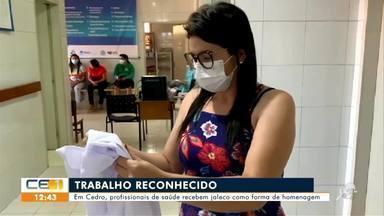 Profissionais de saúde são homenageados em Cedro - Saiba mais em g1.com.br/ce