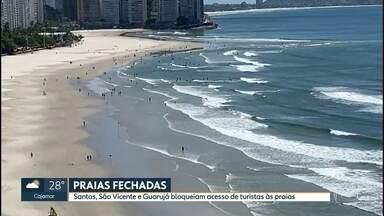 Praias abertas e fechadas no litoral paulista - Cidades da Baixada Santista interditaram acesso às praias e calçadões na virada de ano. No litoral norte não há restrições.