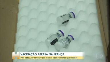 Programa de imunização da França contra a Covid-19 enfrenta fortes críticas - A meta é imunizar um milhão de pessoas, com 2 doses, até o fim do mês. Só que, pra isso, vai ser preciso correr para aplicar quase 35 mil doses por dia.