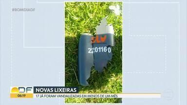 Desde dezembro, vândalos destruíram 17 lixeiras e furtaram duas no DF - Na Vila Planalto, uma senhora instalou lixeiras ecológicas por conta própria depois que as antigas lixeiras da praça foram furtadas. Até o final de 2021, a previsão é que SLU instale 21 mil novas lixeiras.