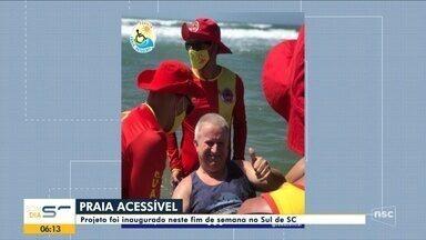 Projeto Praia Acessível é inaugurado no Sul de SC - Projeto Praia Acessível é inaugurado no Sul de SC