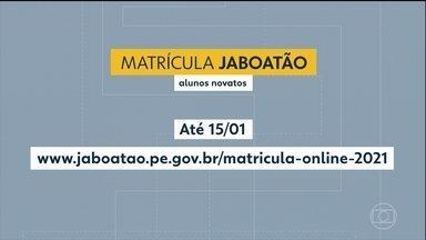 Jaboatão dos Guararapes abre inscrições para alunos novatos - Matrícula pode ser feita até o dia 15 de janeiro.
