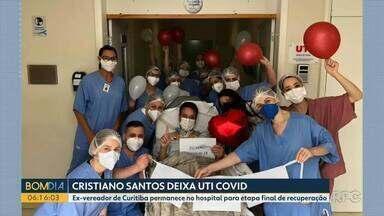 Ex-vereador de Curitiba, Cristiano Santos, deixa a UTI - Ele permanece no hospital para etapa final de recuperação.