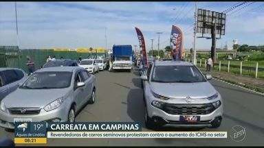 Revendedoras de carros seminovos protestam em Campinas contra aumento do ICMS - Motoristas saíram em carreata por ruas da metrópole.