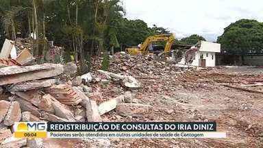 Prefeitura de Contagem redistribui consultas do Centro Especializado Iria Diniz - Prédio foi demolido em dezembro de 2020 e, de acordo com a prefeitura, cerca de 1.400 consultas e procedimentos tinham sido cancelados. Atendimentos reagendados em outras unidades de saúde começam a ser feitos hoje (11).