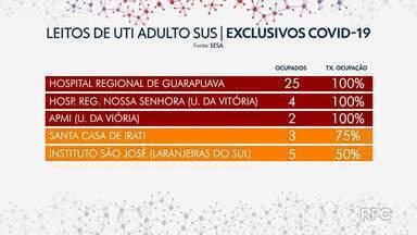Guarapuava chega a lotação máxima das UTIs para Covid, no fim de semana - Hospitais de União da Vitória também estão com ocupação máxima para adultos.