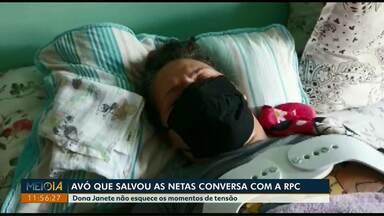 Meio-Dia Paraná entrevista avó que salvou netas em incêndio, em São José dos Pinhais - Dona Janete não esquece os momentos de tensão que viveu.