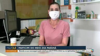 Telespectadores participam do Meio-Dia Paraná desta segunda-feira (11) com mensagens - Envie sua participação pelo aplicativo Você na RPC ou pelo Whats (42) 9-9974-0062.