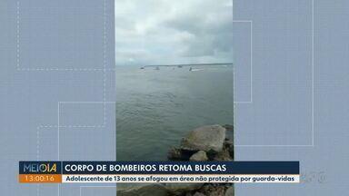 Bombeiros fazem buscas para encontrar adolescente de 13 anos em Pontal do Paraná - Ele desapareceu no mar neste domingo.