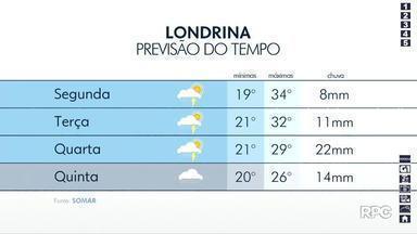 Previsão é de tempo instável em Londrina nos próximos dias - A temperatura máxima deve chegar aos 34º em Londrina nesta segunda-feira (11).