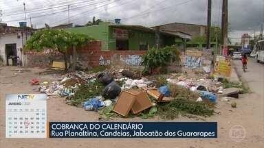 Moradores de Jaboatão reclamam de esgoto e lixo - Calendário do NE1 acompanha situação da Rua Planaltina, em Candeias.