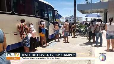 Ônibus itinerante de testagem para Covid-19 volta a funcionar em Campos - Testagem retornou nesta quarta-feira (13).