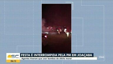 Polícia usa bombas de efeito moral para acabar com festa irregular em Joaçaba - Polícia usa bombas de efeito moral para acabar com festa irregular em Joaçaba
