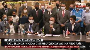 Ministro da Saúde diz que vacinação contra a Covid-19 no país começa nesta segunda (18) - Assista ao vídeo.