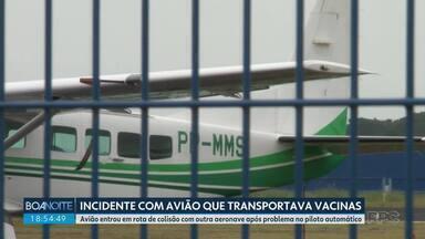 Aeronáutica e Casa Militar vão investigar incidente com avião que transportava vacinas - Avião do governo do Paraná entrou em rota de colisão com outra aeronave após problema no piloto automático.