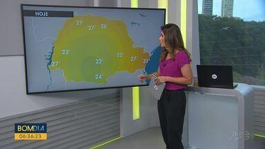 Chuva forte trazem alerta às cidades do oeste e sudoeste do estado - Temperaturas ficam mais altas no litoral e chegam a 27 graus em Curitiba.