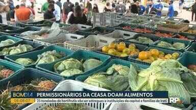 Permissionários da Ceasa doam alimentos para atingidos por chuvarada - 25 toneladas de hortifrutis vão ser entregues a instituições da capital e famílias de Irati.
