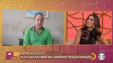 Lente Boa: homem foi flagrado salvando bebê no interior de São Paulo - Alex salvou bebê em carrinho desgovernado