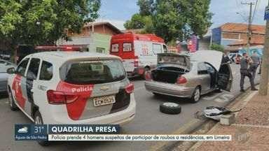 Polícia prende quatro suspeitos em assalto a residência em Limeira - Crime aconteceu nesta sexta-feira (29). Homens já eram monitorados pelos serviços de segurança e, por isso, a polícia conseguiu executar um flagrante.
