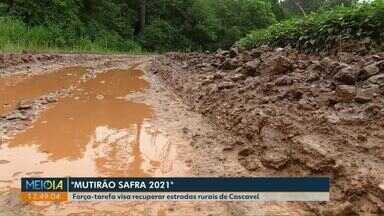 """Prefeitura de Cascavel lança o projeto """"Mutirão Safra 2021"""" - Objetivo é recuperar estradas rurais para escoar a safra a partir de fevereiro."""