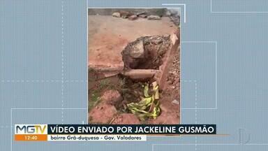 VC no MG1: moradora reclama de buraco em rua no bairro Grã-Duquesa, em Valadares - Confira.