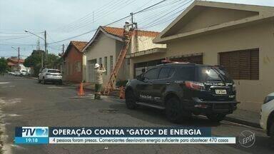 Operação contra ligações clandestinas de energia é realizada em Mogi Guaçu e Estiva Gerbi - Cinco comércios foram identificados desviando energia elétrica que seria suficiente para abastecer 470 casas durante um mês. Um dos proprietários não foi localizado, enquanto outras quatro pessoas foram presas em flagrante.