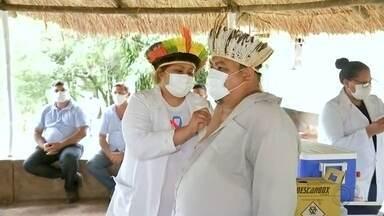 Indígenas da reserva de Araribá são vacinados contra a Covid em Avaí - Neste sábado (30), está sendo finalizada a imunização contra a Covid-19 na reserva indígena de Araribá, em Avaí.