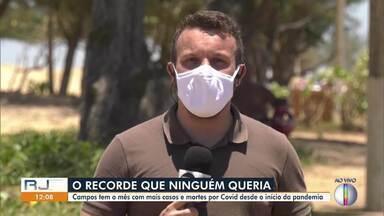 Campos tem o mês com mais casos e mortes por Covid desde o início da pandemia - Janeiro nem terminou e já bateu recorde. Até esta sexta, foram registrados 4.530 casos da doença.