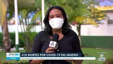 410 mortes por covid-19 em janeiro no estado - Números deste mês superam os do 1º pico da pandemia