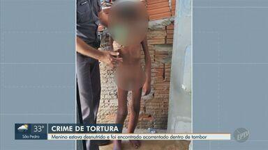 MP investiga falhas em atendimento ao caso de menino acorrentado em barril, em Campinas - A criança de 11 anos foi encontrada no bairro Jardim Itatiaia, no último sábado (30). A investigação busca saber porquê providências não foram tomadas anteriormente.