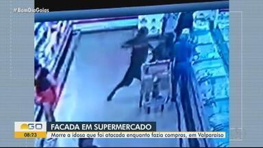 """Morre idosa que levou facada enquanto fazia compras em supermercado de Valparaíso de Goiás - Segundo a Polícia Civil, o suspeito tentou roubar uma mulher na rua e fugiu para o interior do supermercado, onde atacou a idosa. Delegado diz que a ação do suspeito foi """"aleatória"""" e """"sem explicação""""."""