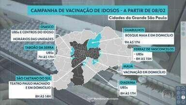 Veja quais cidades da Grande SP começam a vacinação em idosos com mais de 90 anos a partir de segunda (8) - Em Ferraz de Vasconcelos, o público alvo foi ampliado. A cidade já começa a vacinar os idosos com mais de 75 anos.