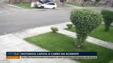 Câmeras flagram capotamento em Ponta Grossa - O motorista do carro que provocou o acidente estava bêbado.