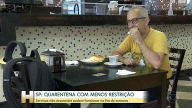 Fim de semana com menos restrições em São Paulo - Seis regiões do Estado estão na fase amarela, menos restritiva. O comércio, bares, restaurantes reabriram neste sábado.