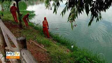 Peixes aparecem mortos na Lagoa do Bairro Pérola, em Governador Valadares - Moradores reclamam de mau cheiro no local.