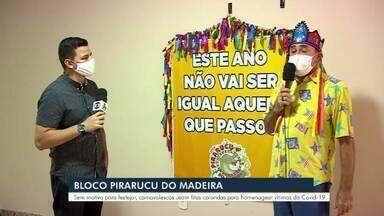 Bloco 'Pirarucu do Madeira' faz homenagem às vítimas da Covid-19 em RO - Equipe representou as mais de duas mil mortes com fitas coloridas em cartazes na Avenida Pinheiro Machado, local de concentração do bloco.