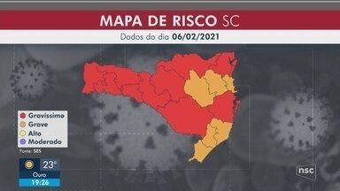 Matriz de risco da Covid-19 aponta dez regiões em situação gravíssima em SC - Matriz de risco da Covid-19 aponta dez regiões em situação gravíssima em SC