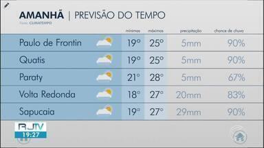 Meteorologia prevê domingo chuvoso na região - Veja como ficam as máximas e as mínimas em algumas cidades da região.