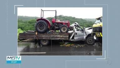 Duas pessoas ficam feridas em acidente na BR-365 - Dois caminhões bateram de frente; chovia no momento do acidente.