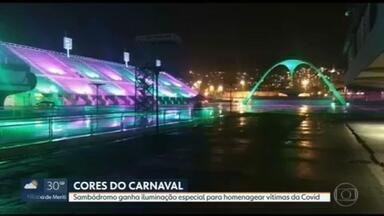 Sambódromo ganha iluminação especial para homenagear as vítimas da Covid-19 - Em homenagem às vítimas da Covid ligadas ao carnaval, o Sambódromo vai receber uma iluminação especial a partir desta sexta-feira (12).