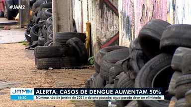 Casos de dengue aumentam 50% em Manaus - Números são de janeiro de 2021 e do ano passado; água parada deve ser eliminada